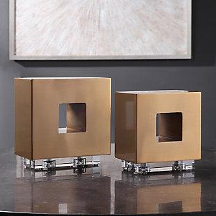 Uttermost Rooney Brass Cubes (Set of 2), , rollover
