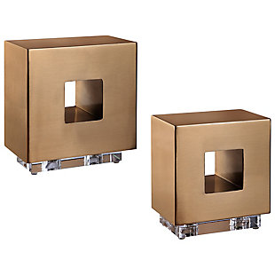 Uttermost Rooney Brass Cubes (Set of 2), , large