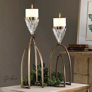 Uttermost Carma Bronze And Crystal Candleholders (Set of 2), , rollover