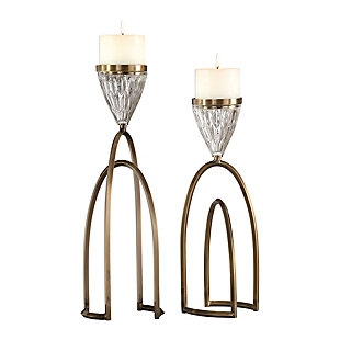 Uttermost Carma Bronze And Crystal Candleholders (Set of 2), , large