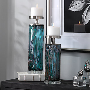 Uttermost Almanzora Teal Glass Candleholders (Set of 2), , rollover