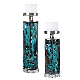 Uttermost Almanzora Teal Glass Candleholders (Set of 2), , large
