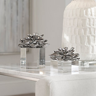 Uttermost Indian Lotus Metallic Silver Flowers (Set of 2), , rollover