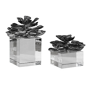 Uttermost Indian Lotus Metallic Silver Flowers (Set of 2), , large