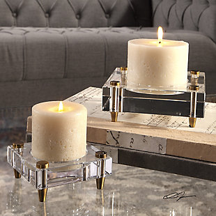 Uttermost Claire Crystal Block Candleholders (Set of 2), , rollover
