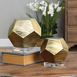 Uttermost Pentagon Coffee Bronze Cubes (Set of 2), , rollover