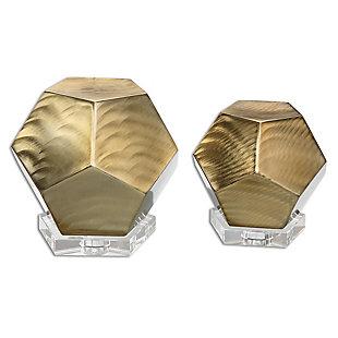 Uttermost Pentagon Coffee Bronze Cubes (Set of 2), , large