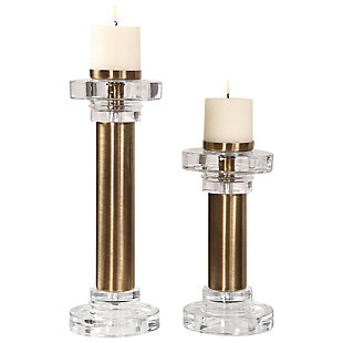 Uttermost Leslie Brushed Brass Candleholders (Set of 2), , large
