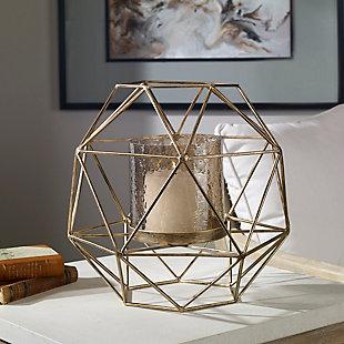 Uttermost Myah Geometric Gold Candleholder, , rollover