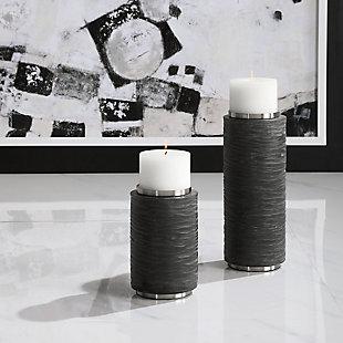Uttermost Strathmore Stone Gray Candleholders (Set of 2), , rollover