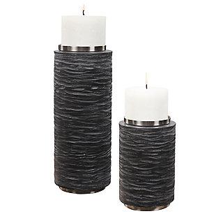 Uttermost Strathmore Stone Gray Candleholders (Set of 2), , large