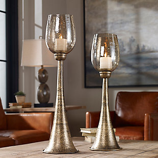 Uttermost Badal Antiqued Gold Candleholders (Set of 2), , rollover