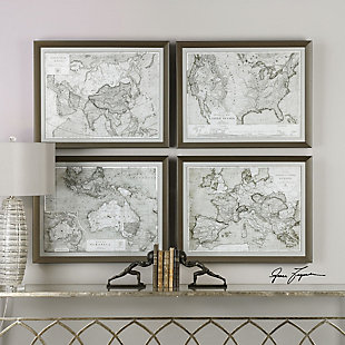 Uttermost World Maps Framed Prints Set of 4, , rollover