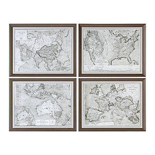 Uttermost World Maps Framed Prints Set of 4, , large