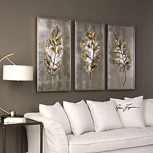 Uttermost Champagne Leaves Modern Art Set of 3, , rollover