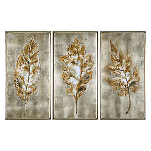Uttermost Champagne Leaves Modern Art Set of 3, , large