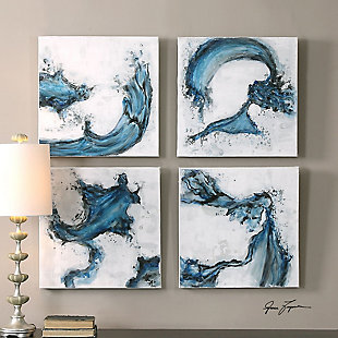 Uttermost Swirls In Blue Abstract Art, Set of 4, , rollover