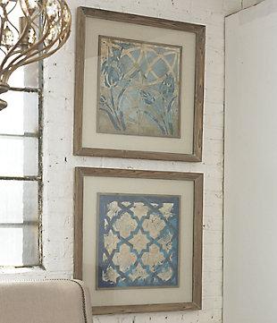 Uttermost Stained Glass Indigo Art Set of 2, , rollover