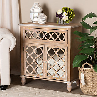 Baxton Studio Leah 1-Drawer Oak Brown Finish Wood and Mirrored Quatrefoil Storage Cabinet, , rollover