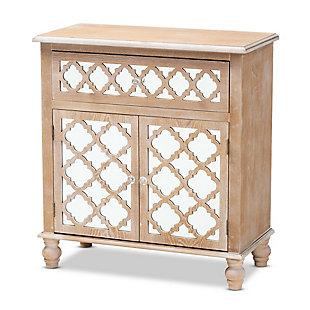 Baxton Studio Leah 1-Drawer Oak Brown Finish Wood and Mirrored Quatrefoil Storage Cabinet, , large