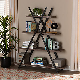Baxton Studio Fiera 4-Tier Walnut Finish Wood and Black Metal Living Room Display Shelf Set, , rollover