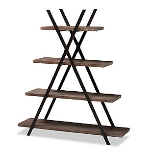 Baxton Studio Fiera 4-Tier Walnut Finish Wood and Black Metal Living Room Display Shelf Set, , large