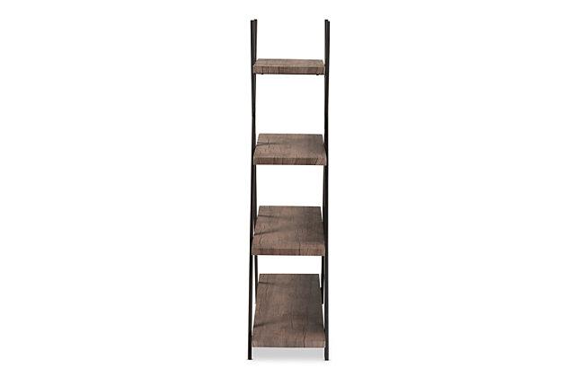 Baxton Studio Fiera 4-Tier Walnut Finish Wood and Black Metal Living Room Display Shelf Set, , large