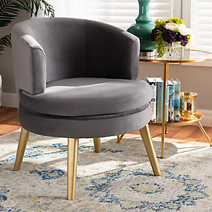 Baxton Studio Baptiste Luxe Velvet Fabric Upholstered and Gold Finish Wood Accent Chair, , rollover