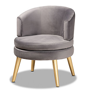 Baxton Studio Baptiste Luxe Velvet Fabric Upholstered and Gold Finish Wood Accent Chair, , large