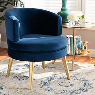 Baxton Studio Baptiste Luxe Navy Velvet Fabric Upholstered and Gold Finish Wood Accent Chair, Blue/Gold, rollover