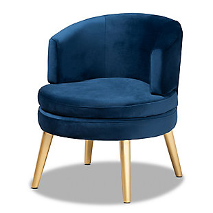 Baxton Studio Baptiste Luxe Navy Velvet Fabric Upholstered and Gold Finish Wood Accent Chair, Blue/Gold, large