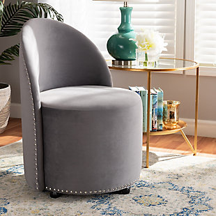 Baxton Studio Bethel Luxe Velvet Fabric Upholstered Rolling Accent Chair, , rollover