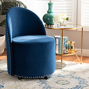Baxton Studio Bethel Luxe Navy Velvet Fabric Upholstered Rolling Accent Chair, Blue/Black, rollover