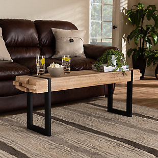 Baxton Studio Henson Natural Brown Finish Wood and Black Finish Metal Bench, , rollover