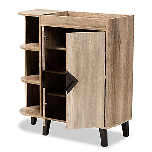 Wales 2-Door Shoe Storage Cabinet with Open Shelves, , large