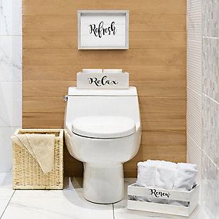 Elegant Designs Inspirational Three Piece Decorative Wood Bathroom Set, Large, , rollover