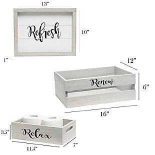 Elegant Designs Inspirational Three Piece Decorative Wood Bathroom Set, Large, , large