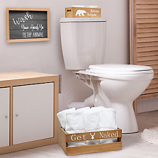 Elegant Designs Rustic Three Piece Decorative Wood Bathroom Set, Large, , rollover