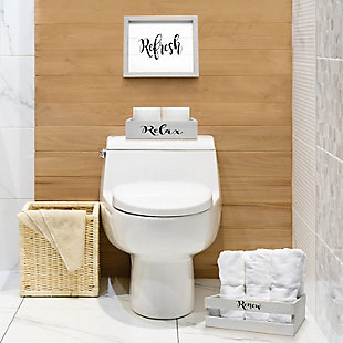 Elegant Designs Inspirational Three Piece Decorative Wood Bathroom Set, Small, , rollover