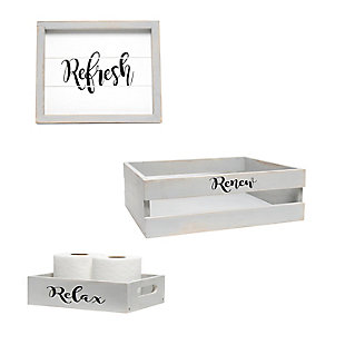 Elegant Designs Inspirational Three Piece Decorative Wood Bathroom Set, Small, , large