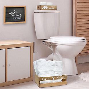 Elegant Designs Rustic Three Piece Decorative Wood Bathroom Set, Small, , rollover