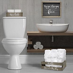 Elegant Designs Cheeky Three Piece Decorative Wood Bathroom Set, Small, , rollover