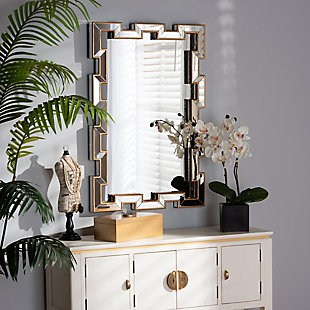 Baxton Studio Tanis Modern and Contemporary Glam Bronze Finished Rectangular Accent Wall Mirror, , rollover