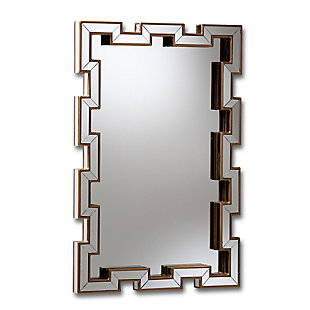 Baxton Studio Tanis Modern and Contemporary Glam Bronze Finished Rectangular Accent Wall Mirror, , large