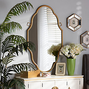 Baxton Studio Dennis Vintage Antique Gold Finished Accent Wall Mirror, , rollover