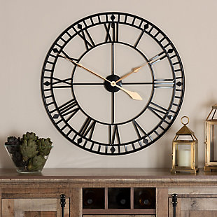 Baxton Studio Janette Classic Contemporary Black and Gold Finished Metal Wall Clock, , rollover