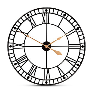 Baxton Studio Janette Classic Contemporary Black and Gold Finished Metal Wall Clock, , large