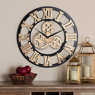 Baxton Studio Randolph Industrial Vintage Style Black and Distressed Brown Finished Wood Wall Clock, , rollover