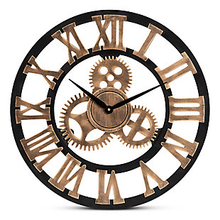 Baxton Studio Randolph Industrial Vintage Style Black and Distressed Brown Finished Wood Wall Clock, , large
