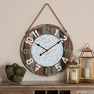 Baxton Studio Garrison Vintage Farmhouse Silver Metal and Multicolored Wood Wall Clock, , rollover